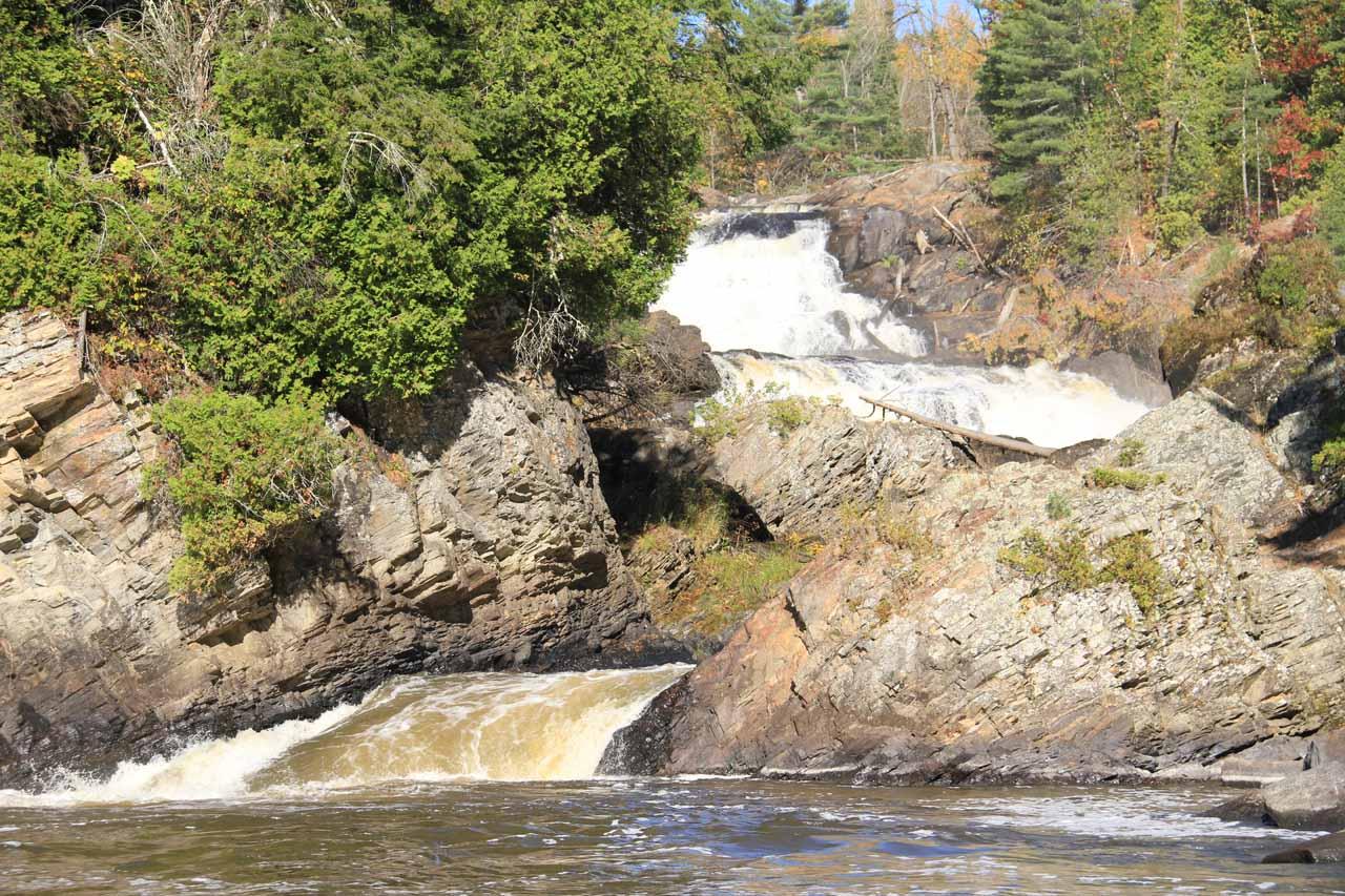 Looking back upstream towards the Chutes de Plaisance