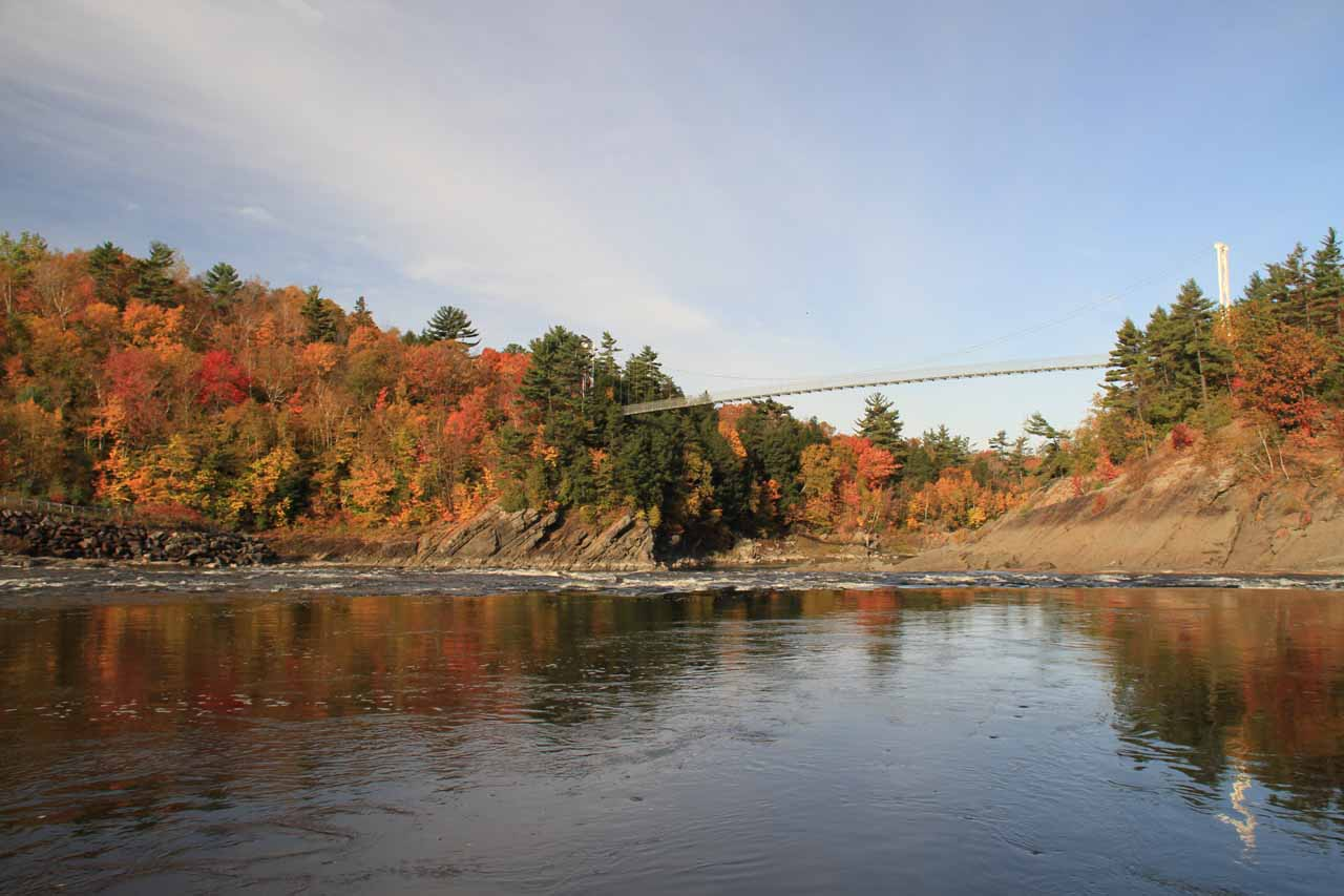 Looking upstream towards the suspension bridge