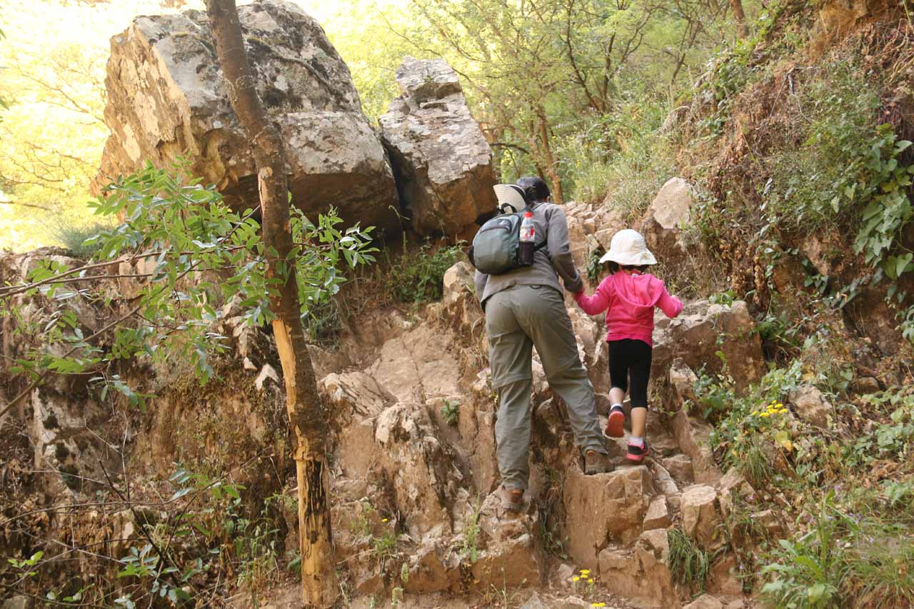 The trail to the base of the Cascada de la Cimbarra became a bit rougher and less defined the further down we went