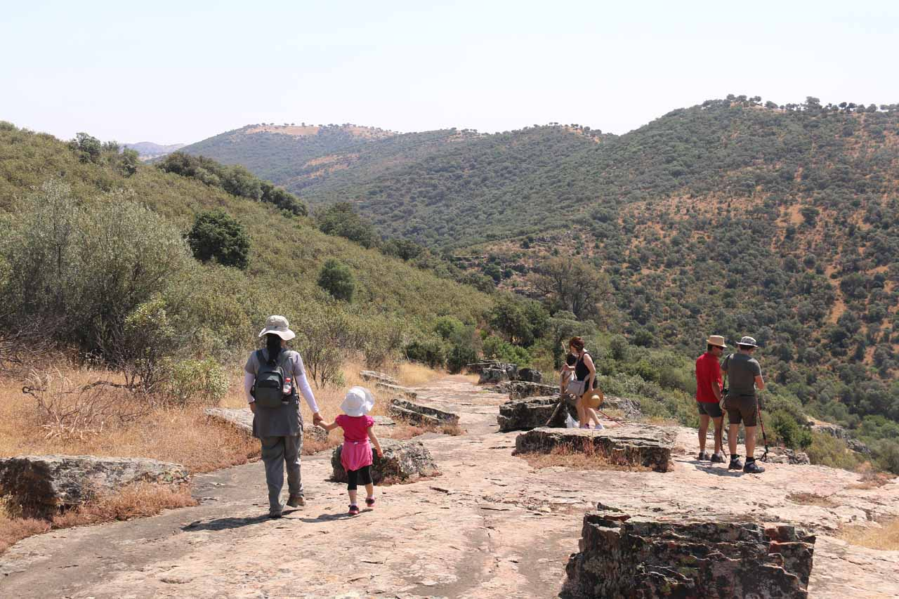 Julie and Tahia heading to a different mirador overlooking a different gorge. We almost made the mistake of continuing on the trail past this point thinking it would wrap up the loop back to the trailhead when in fact it was descending further into the gorge towards the Sendero del Arroyo de Martín Pérez