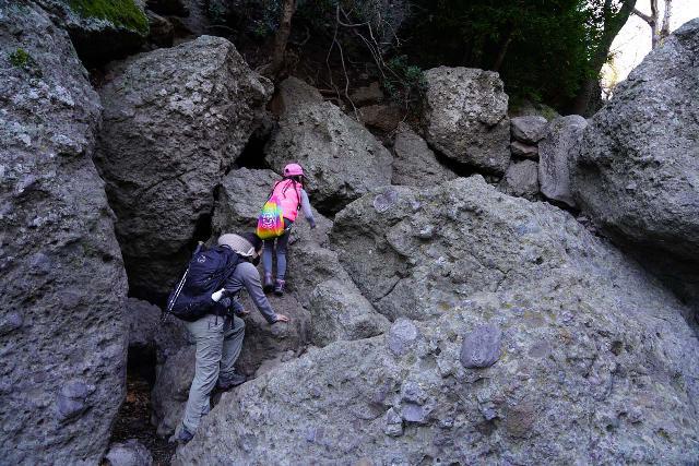 Hiking pants are both flexible enough yet tough enough to handle rugged terrain like this boulder scramble