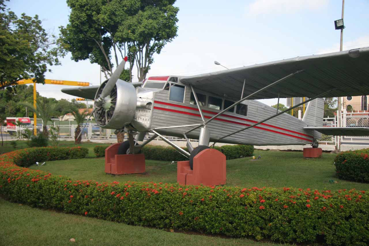 Jimmy Angel's restored plane resting at the airport in Ciudad Bolívar
