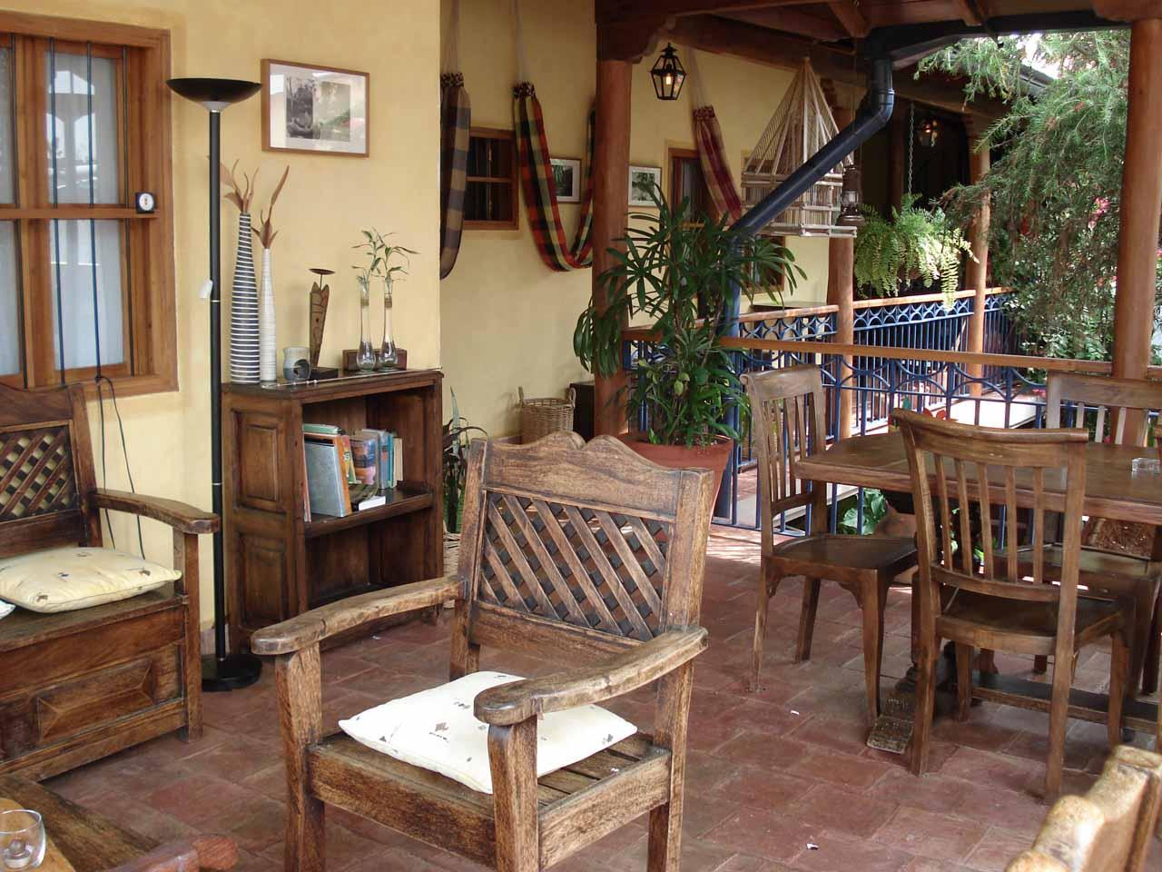 The charming lobby area of Posada Angostura