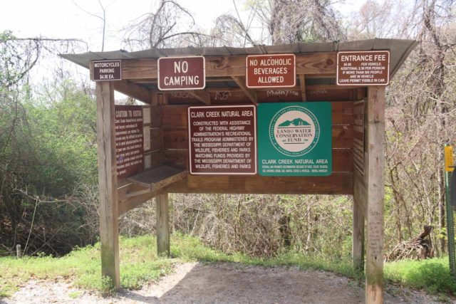 Clark_Creek_NA_003_03152016 - Signage at the Clark Creek Natural Area explaining lots of rules as well as the entrance fee