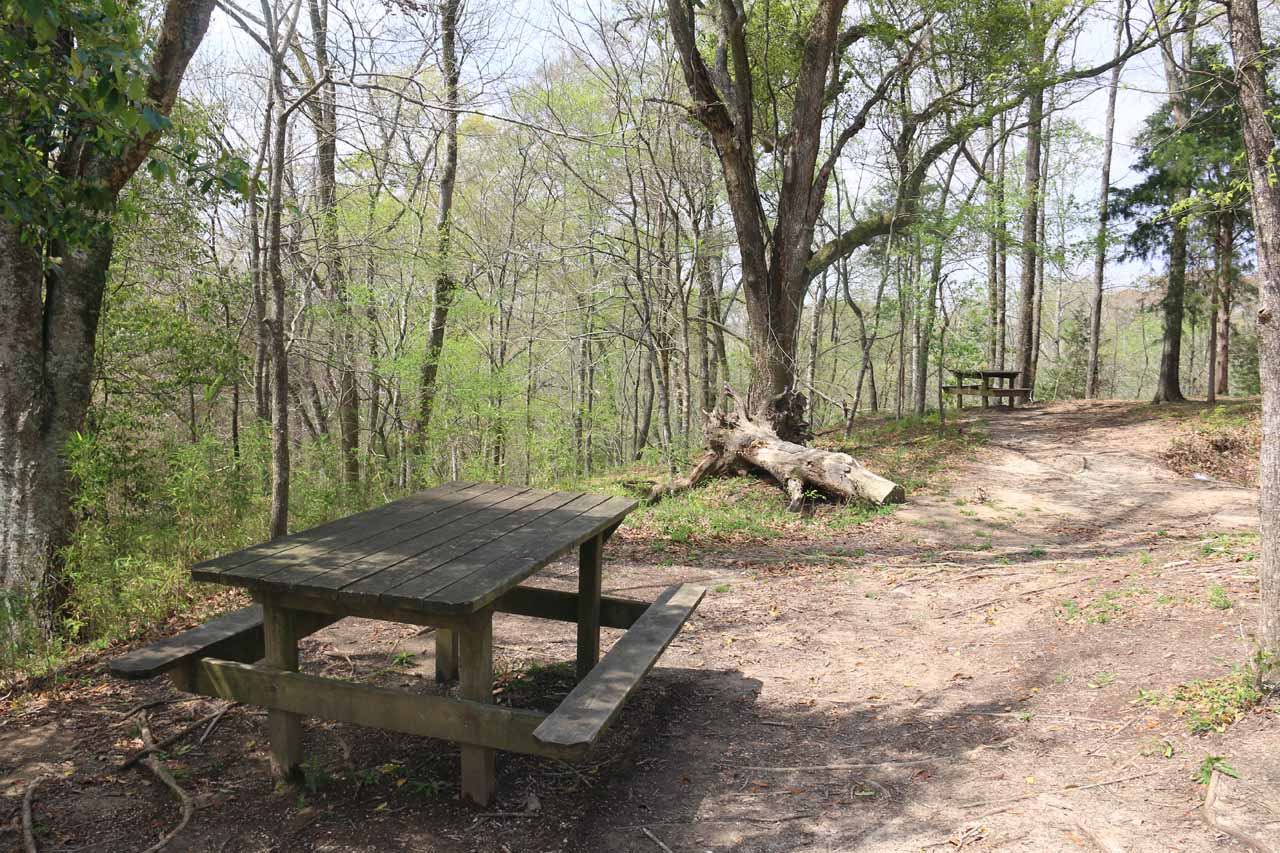 This was the picnic area on the hill next to the restroom facility and the trailhead parking