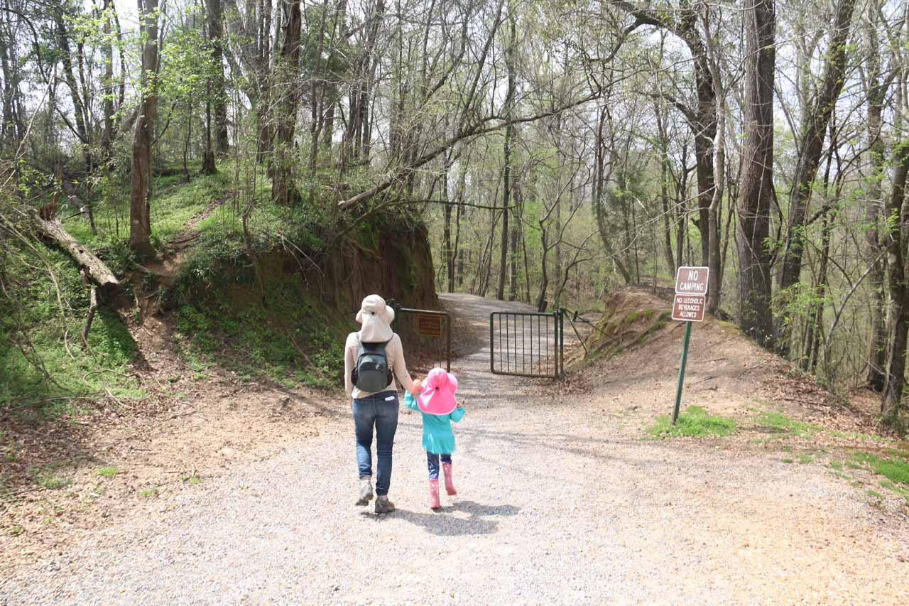 Julie and Tahia about to pass through a gate near the start of the Waterfalls Trail