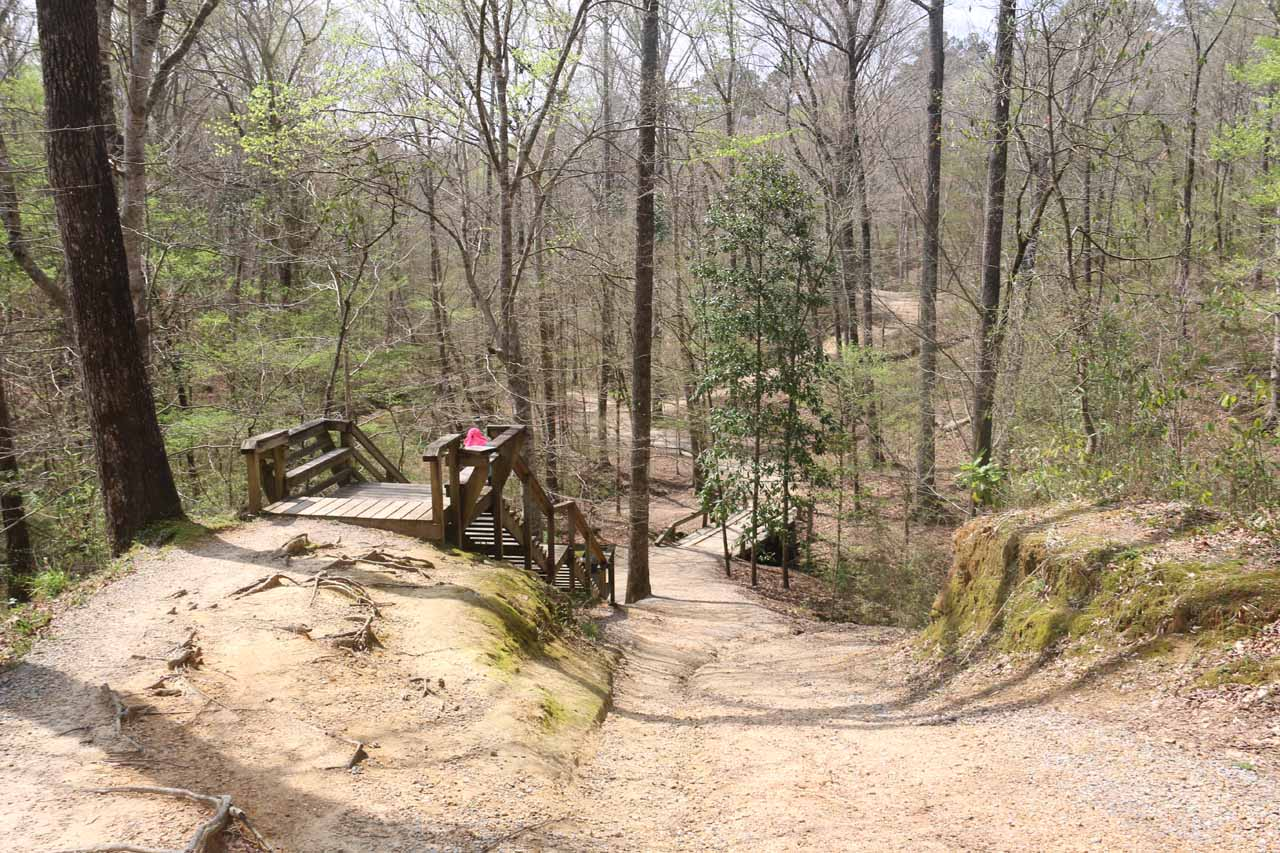 Here's another series of stairs descending alongside the wide trail
