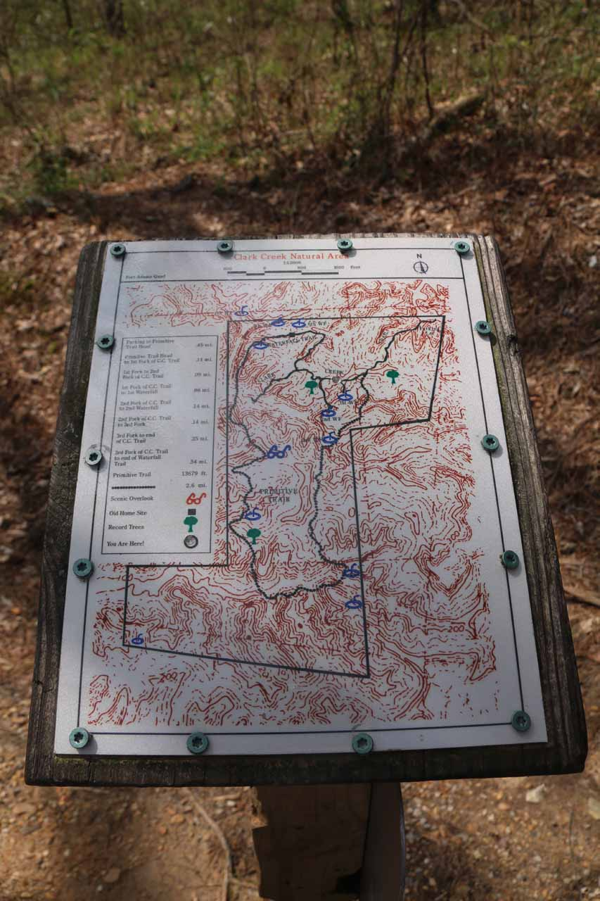 Each major trail junction had topographic maps like this, which kept us oriented (provided we could properly interpret the busy map)