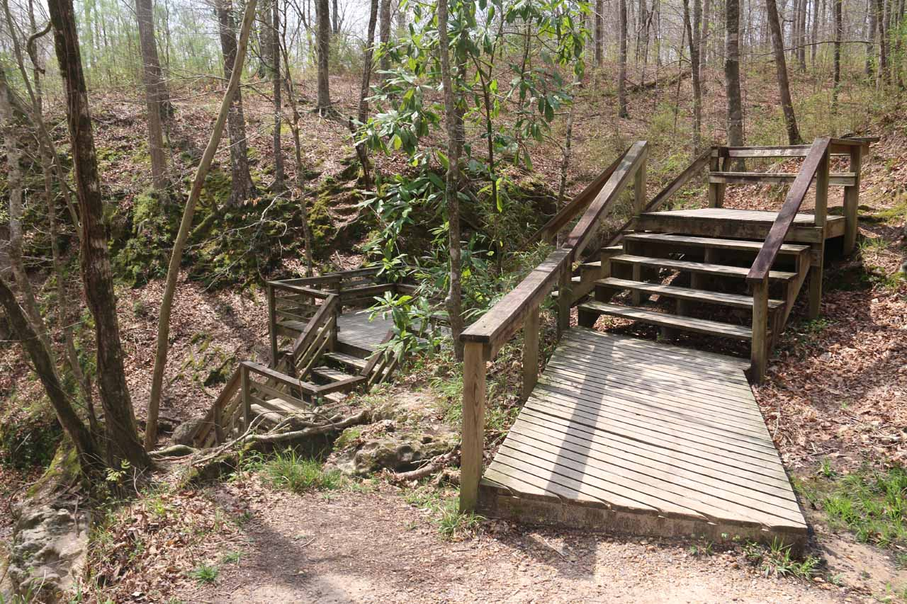 This was the stairs that led us towards the base of the first Clark Creek Waterfall