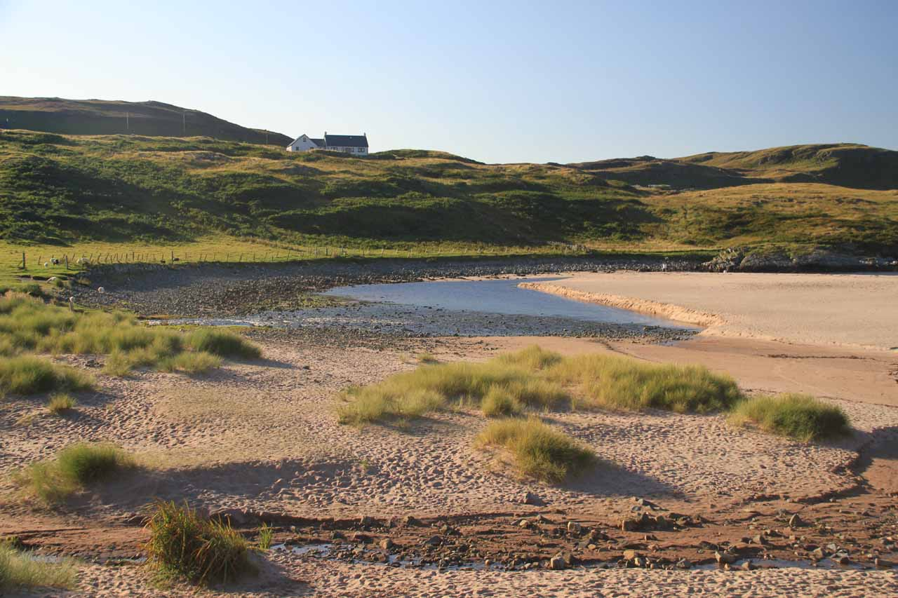 Just 16 miles west of Kylesku (give it 45 minutes to drive the dangerous single track road) was the community of Clashnessie, which featured this beautiful sandy beach as well as a waterfall