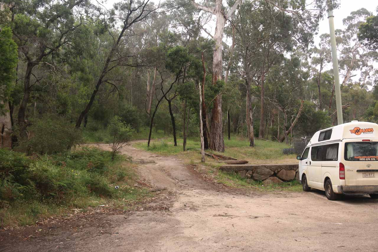 The car park for the Halls Gap Recreational Oval, which was also the trailhead for Clematis Falls