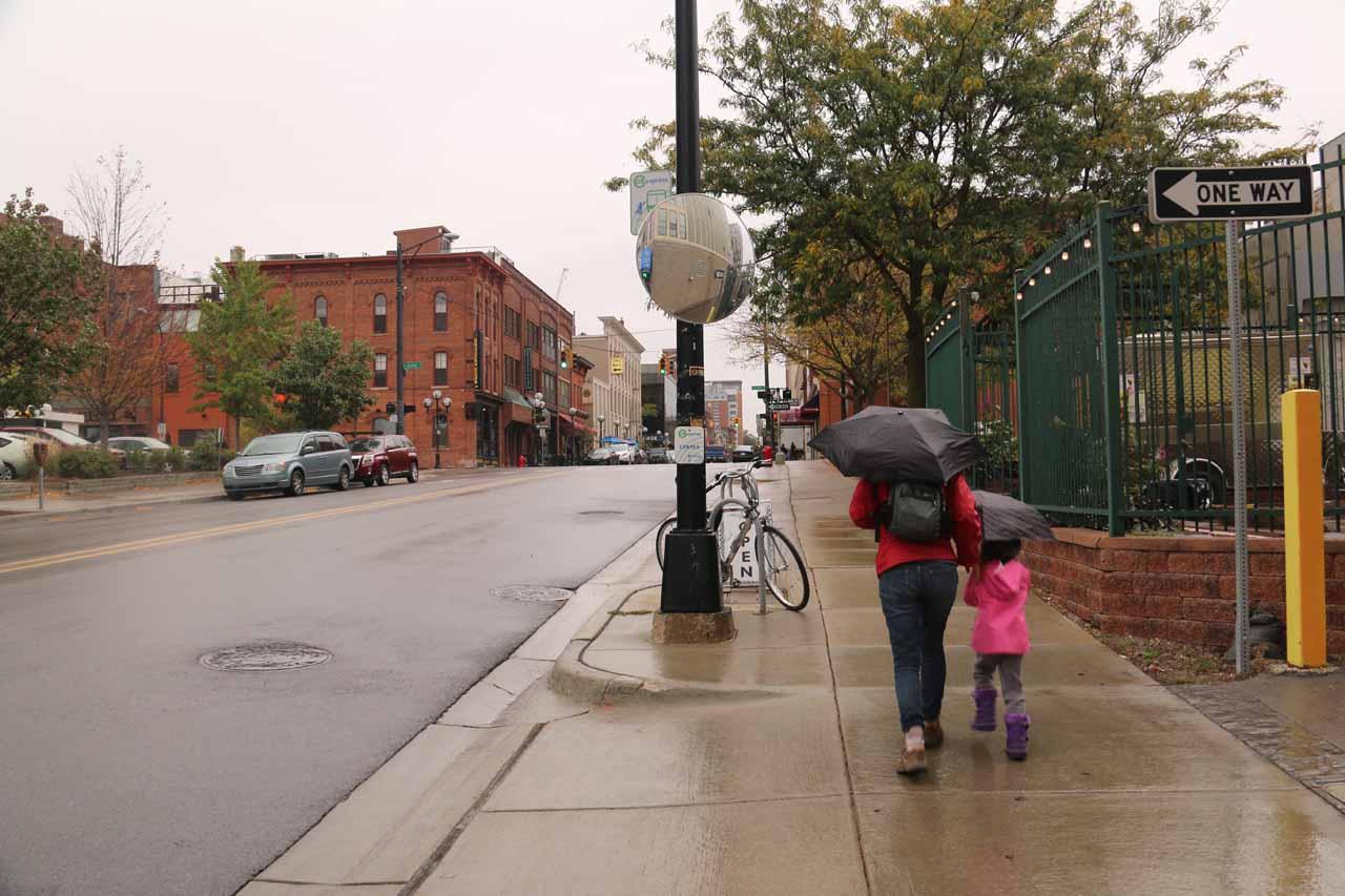 Walking in the rain towards Frita Batidos in Ann Arbor, Michigan
