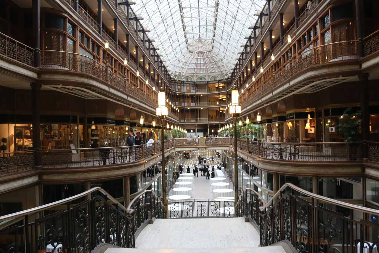 Inside the beautiful arcade at the Hyatt in downtown Cleveland