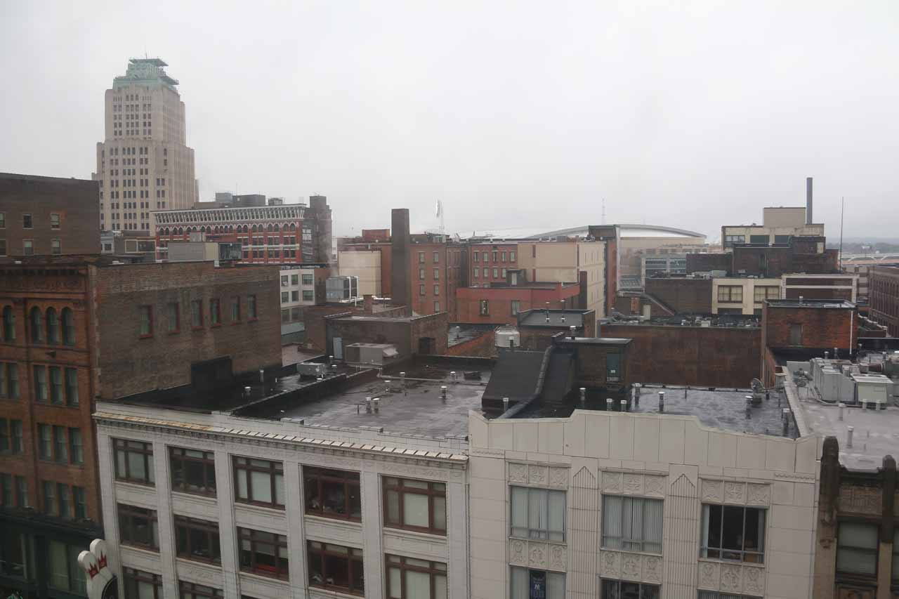View from our room at the Hyatt in downtown Cleveland
