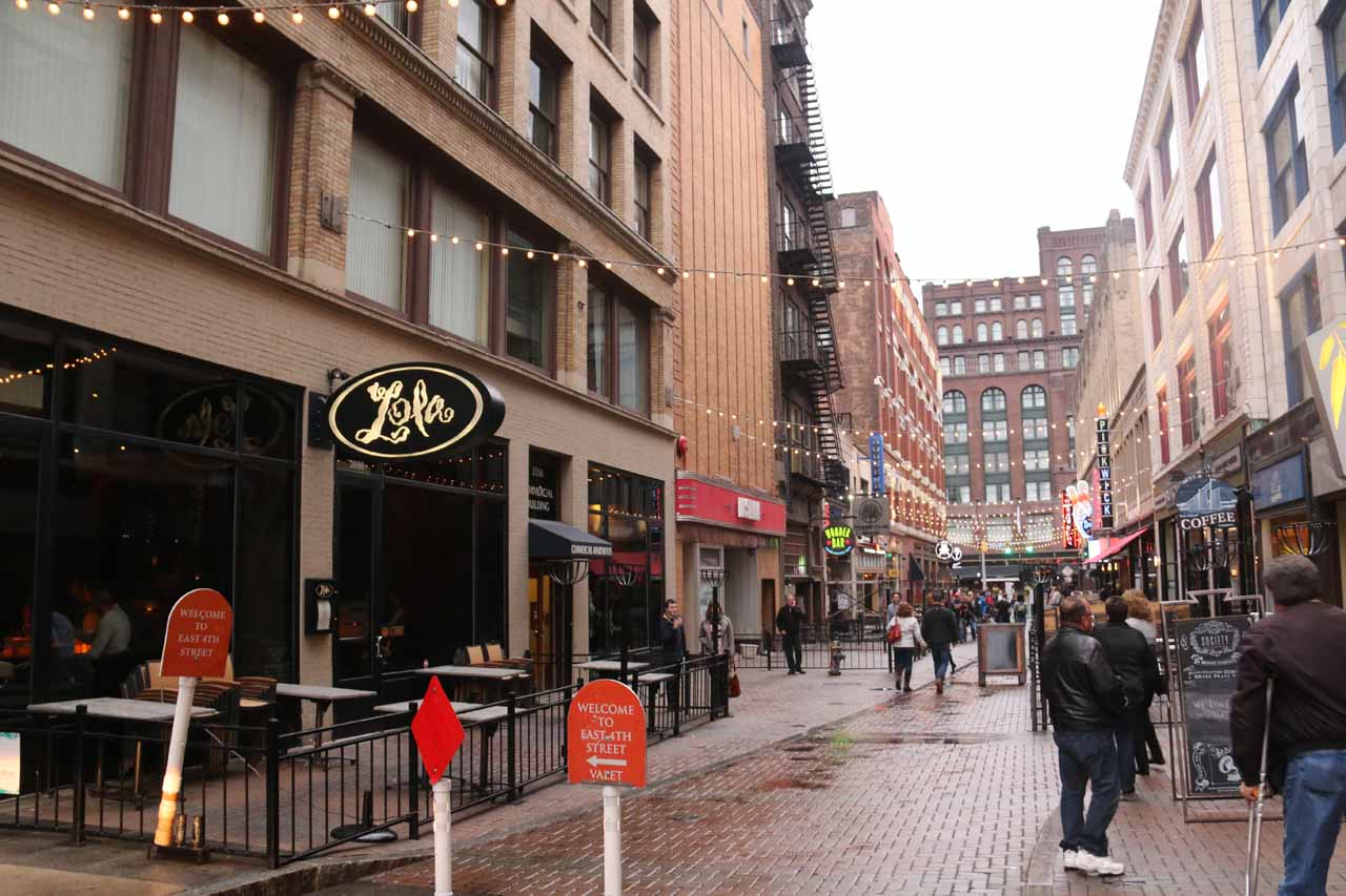 On the narrow walking street in downtown Cleveland where we went looking for a place to eat and wound up at Lola