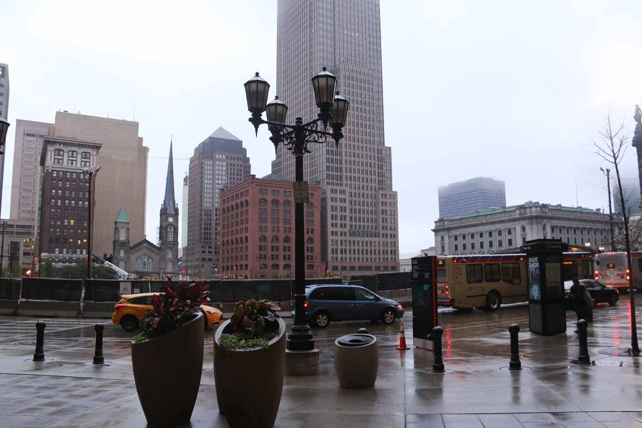 The rain was coming down harder as we entered the tower in downtown Cleveland