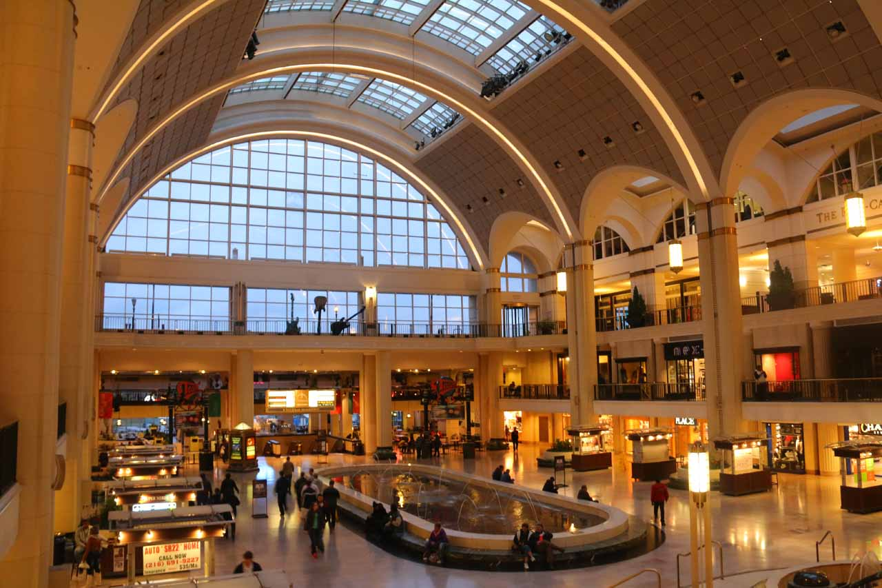 The attractive mall at the tower in downtown Cleveland