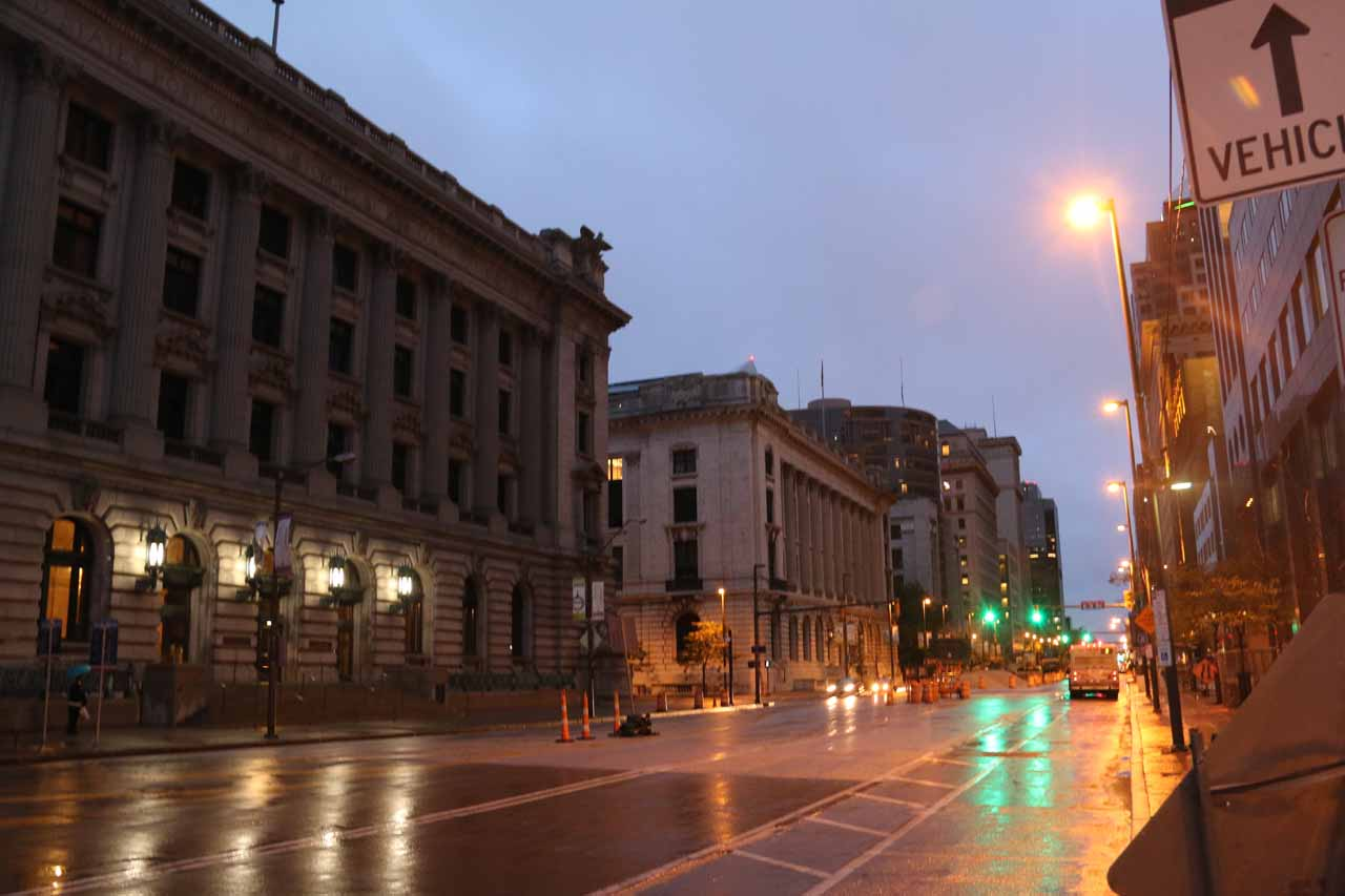 Walking about the attractive downtown Cleveland