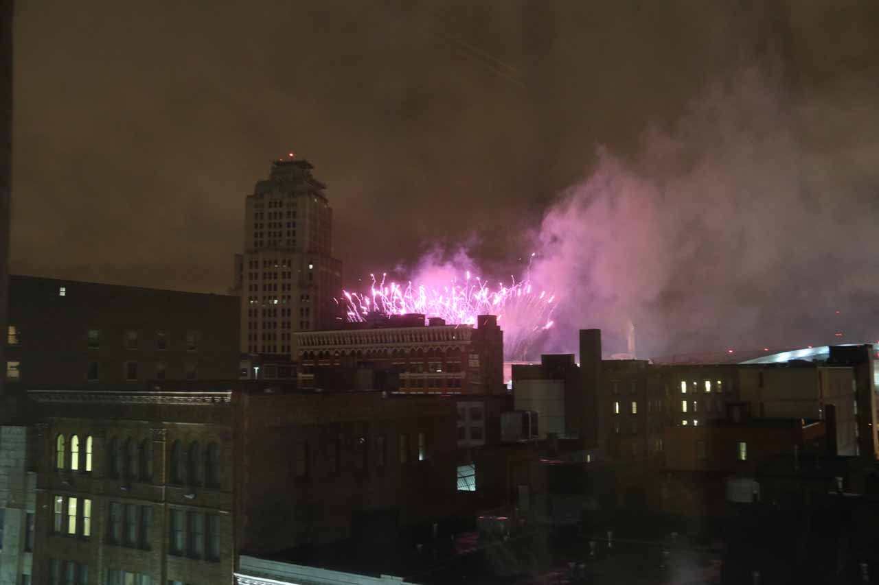 Fireworks going off at Jacob's Field in downtown Cleveland