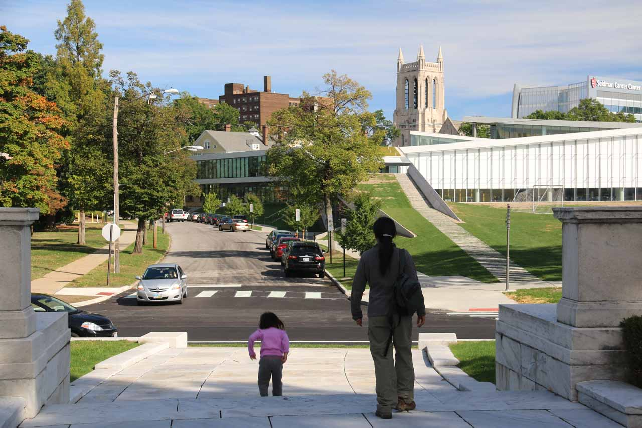 Julie and Tahia heading back to the parked car after visiting the Museum of Art just east of downtown Cleveland