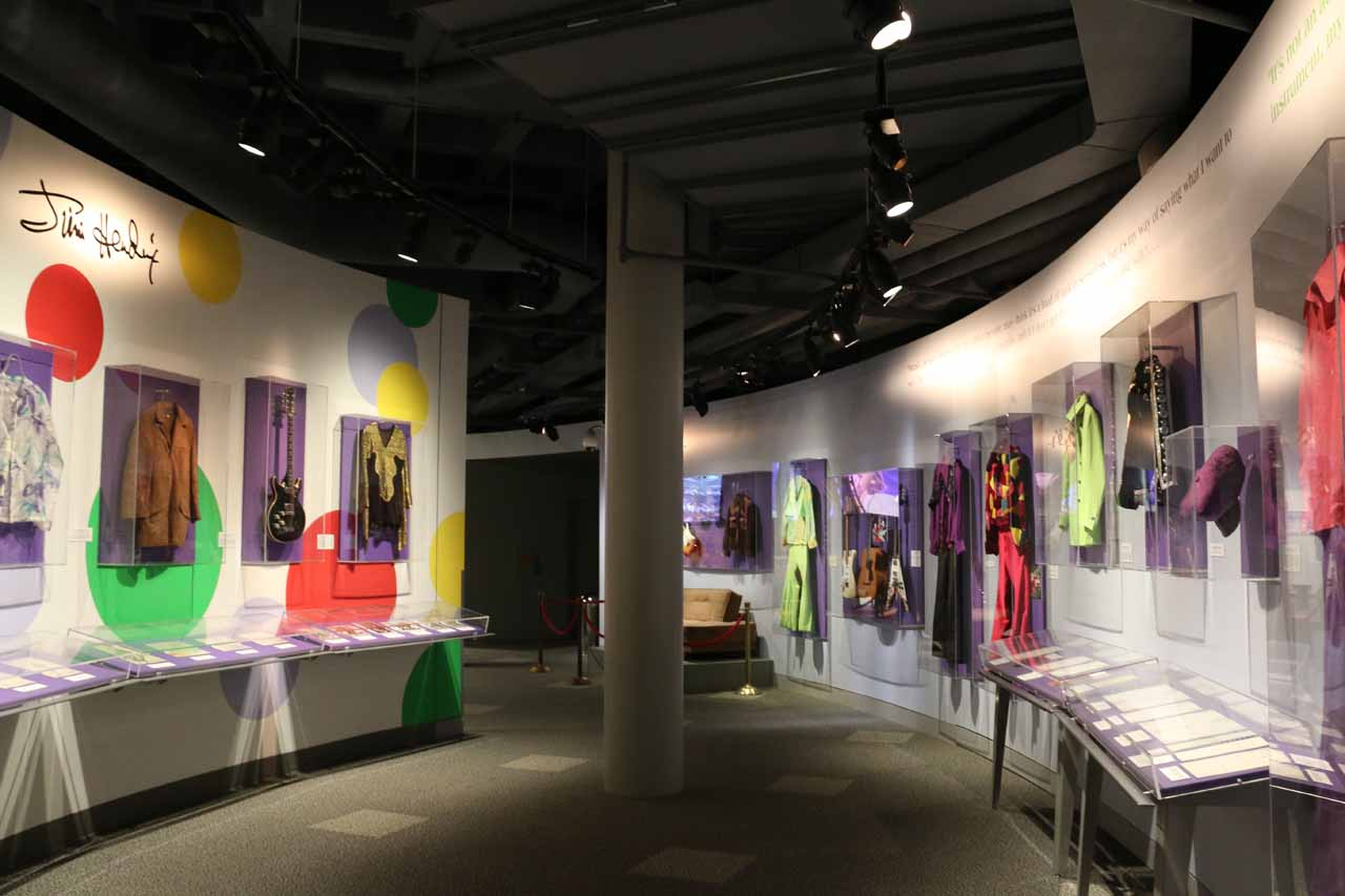 Inside the downstairs exhibits of the Rock and Roll Hall of Fame
