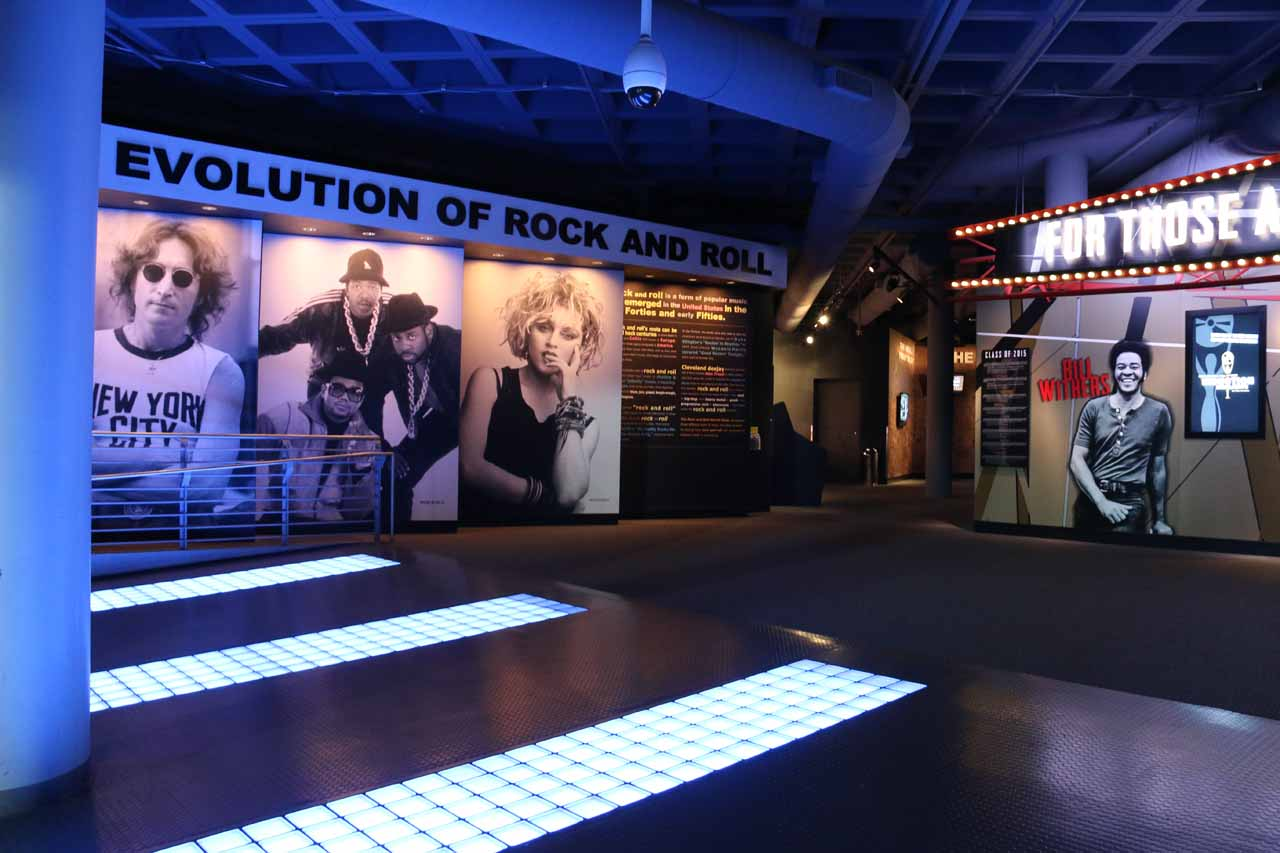 Cleveland was also home to the Rock and Roll Hall of Fame as apparently it was proclaimed that rock and roll got started here (i.e. 'Cleveland Rocks'). The museum was like a VH1 rockumentary gone live