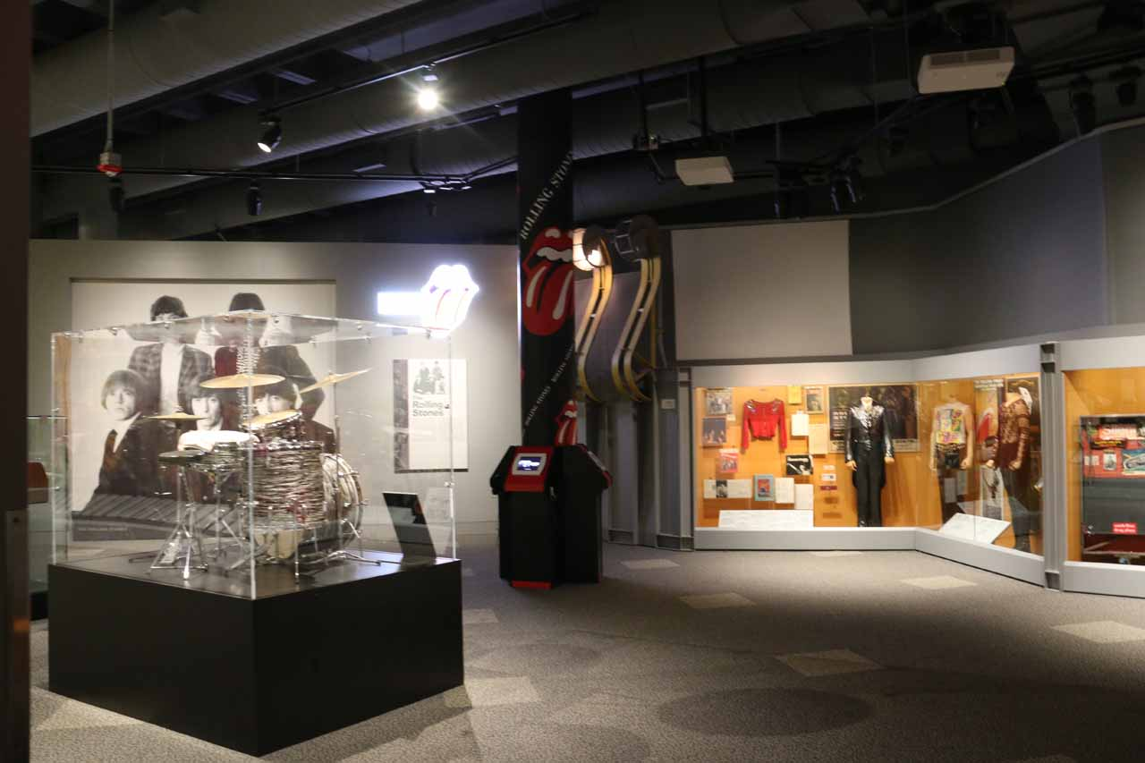 Within the Rolling Stones and Beattles exhibits inside the Rock and Roll Hall of Fame