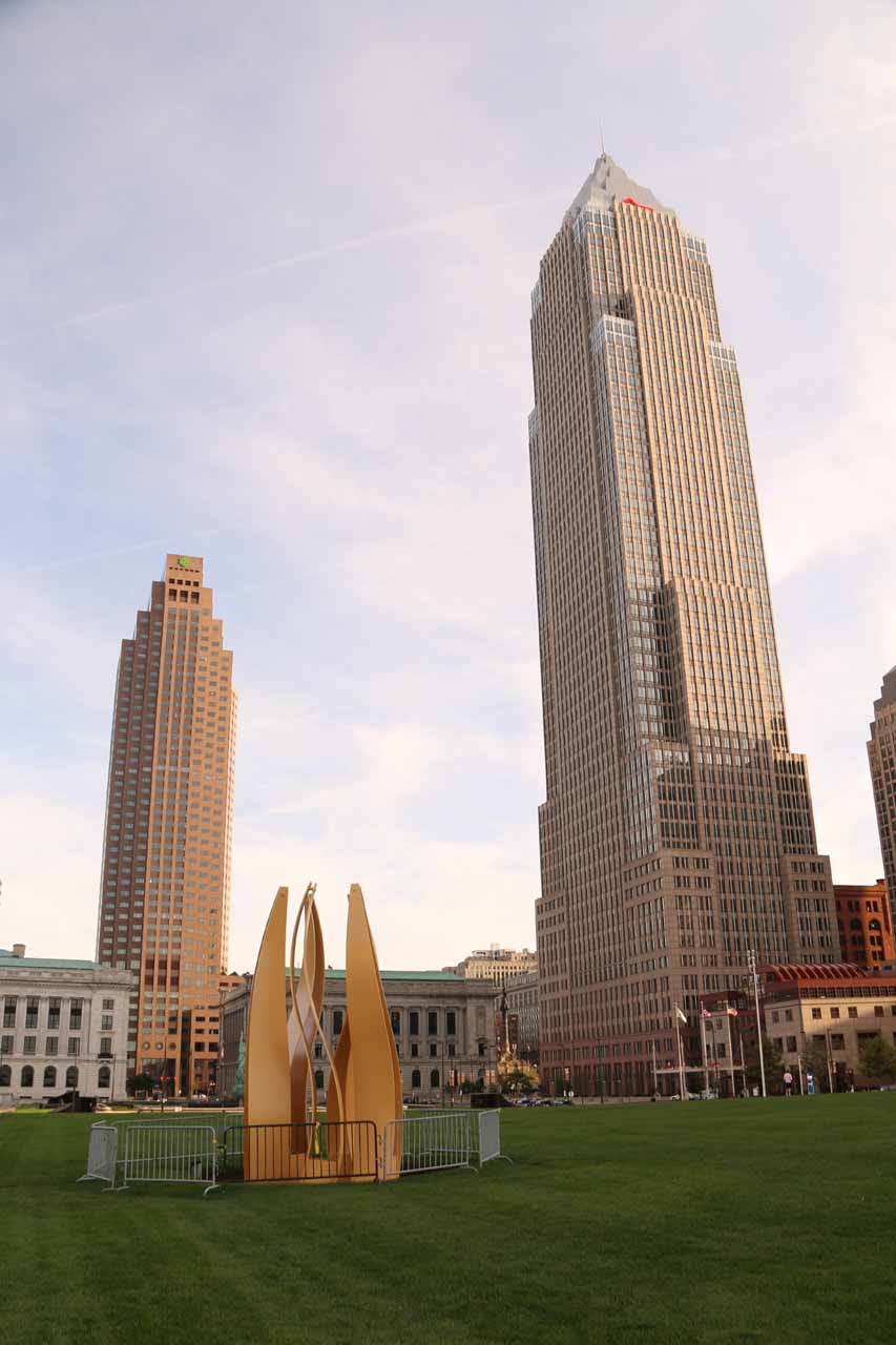 Within the attractive greenspace flanked by skyscrapers in downtown Cleveland