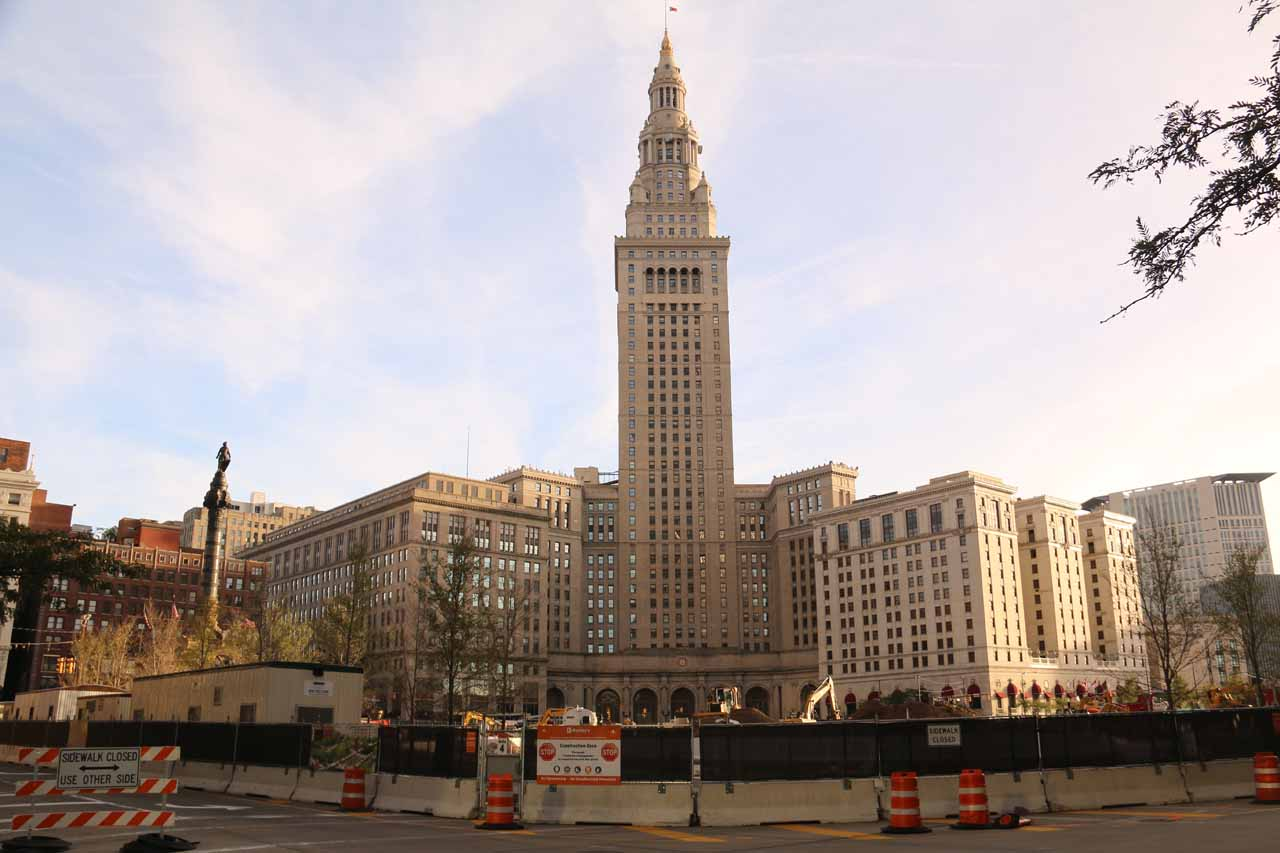 Looking across the construction site towards the Horseshoe in downtown Cleveland