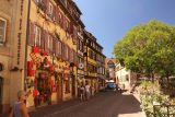 Colmar_125_06202018 - Looking towards some cute shops and half-timbered buildings in Colmar