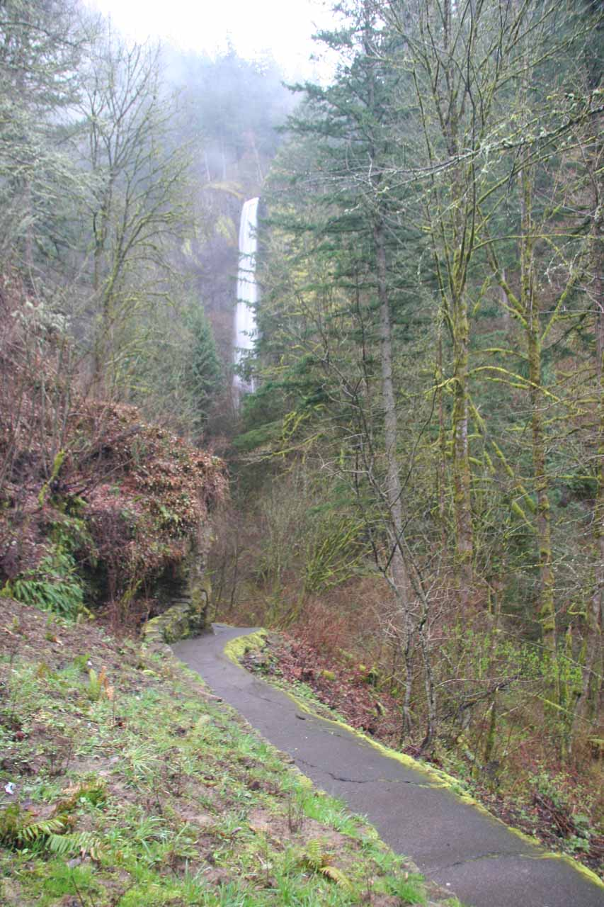 Path leading to the base of the falls as seen on a rainy day in March 2009