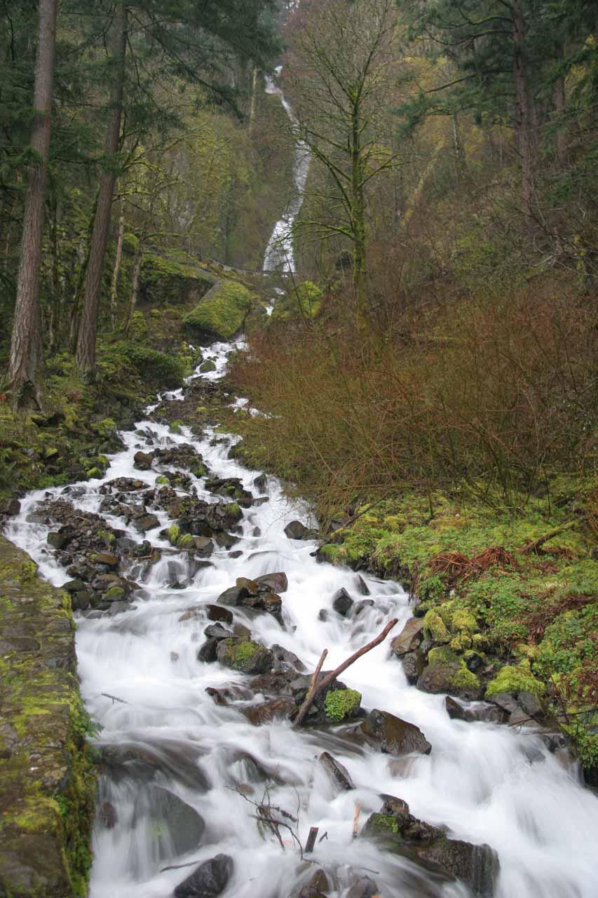 The stream leading up to Wahkeena Falls
