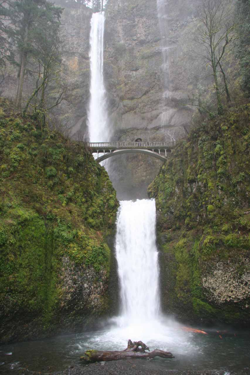 Approaching Multnomah Falls in high flow under some pretty foul weather