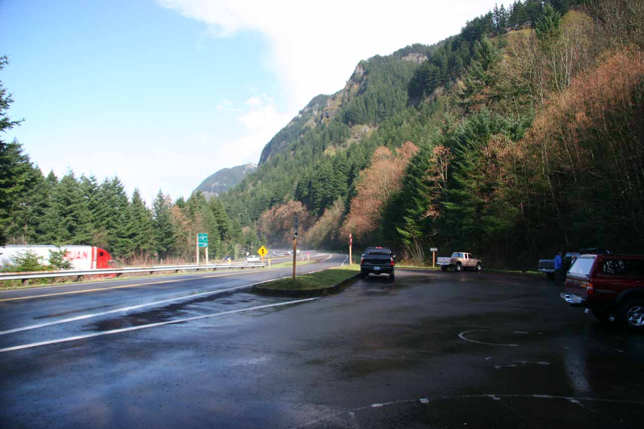 The trailhead parking almost besides I-84