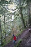 Columbia_River_Gorge_130_03292009 - Julie descending towards the Elowah Falls on the path descending closer to its base as seen in late March 2009. Notice how this path veered left instead of directly to the right as shown in the trail photos from August 2017