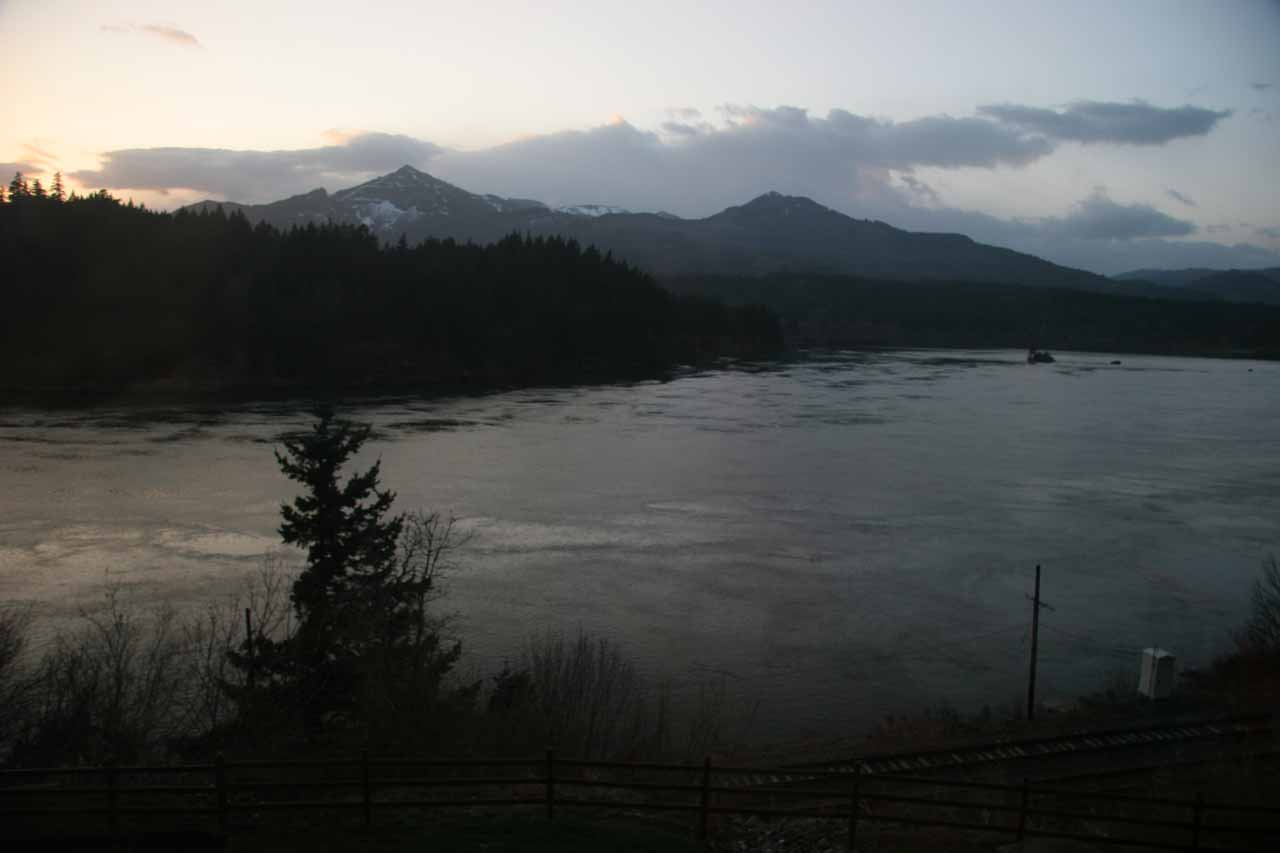 When the rain finally started to clear up, this was the view of the Columbia River that we got from Cascade Locks, which itself was closer to Eagle Creek than Portland was