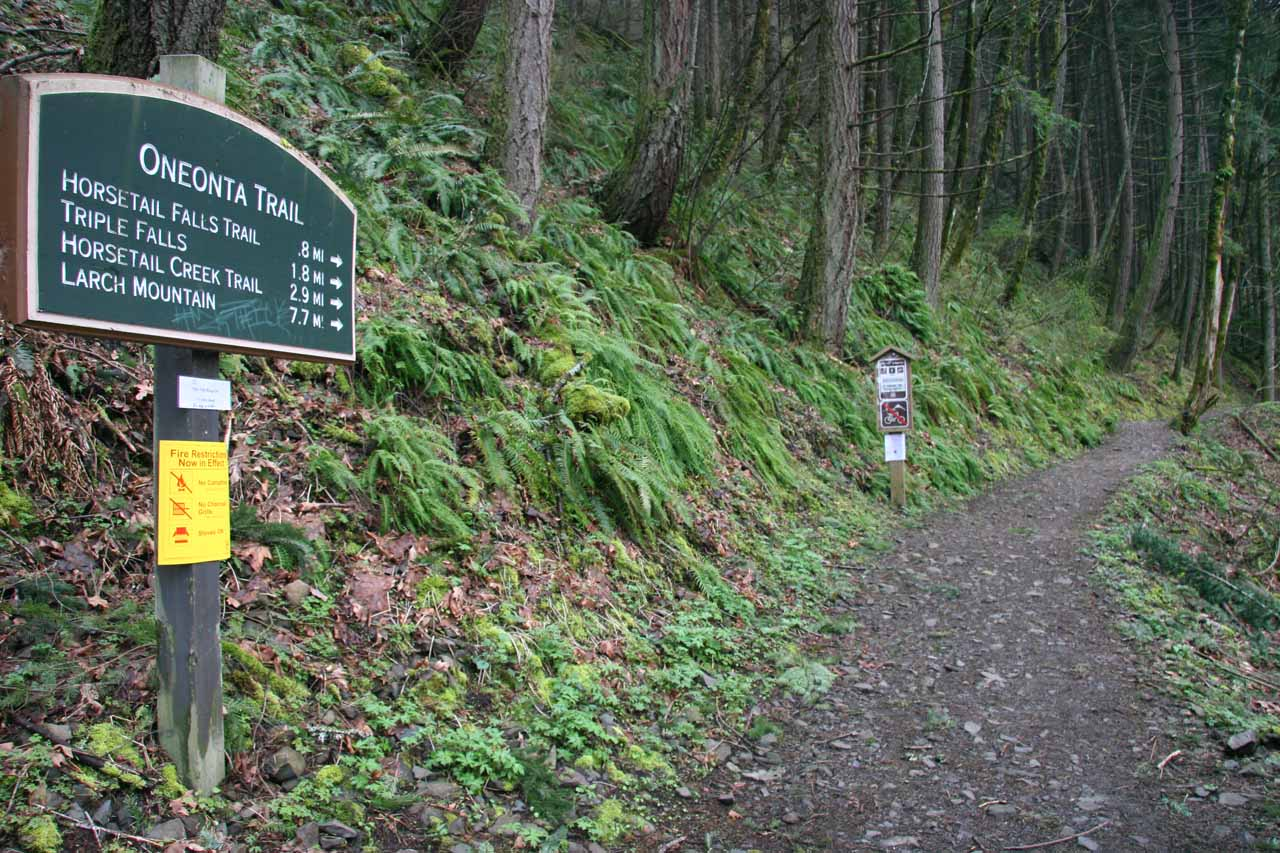 Sign at the Oneonta Trailhead, which was the closest start to the Middle Oneonta Falls