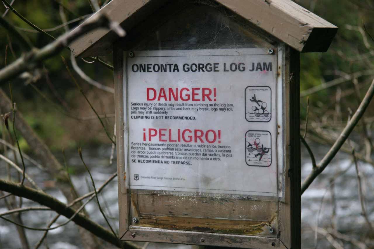 Sign warning of the logjam hazard