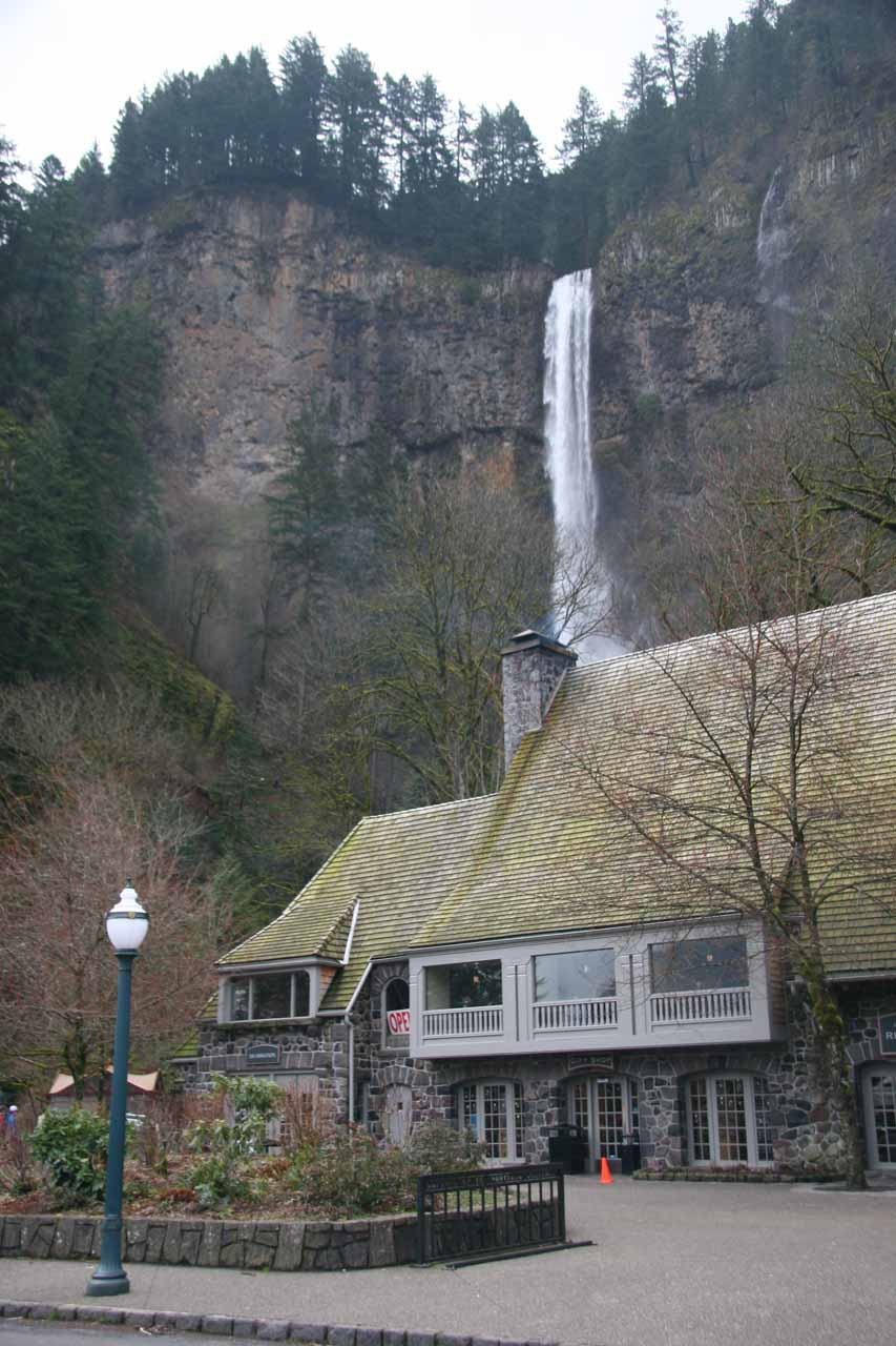 The historic Multnomah Falls Lodge fronting the waterfall itself