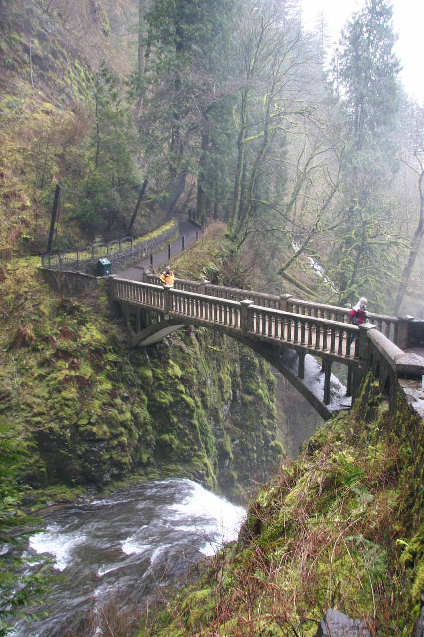 Looking down at the bridge over the lower falls