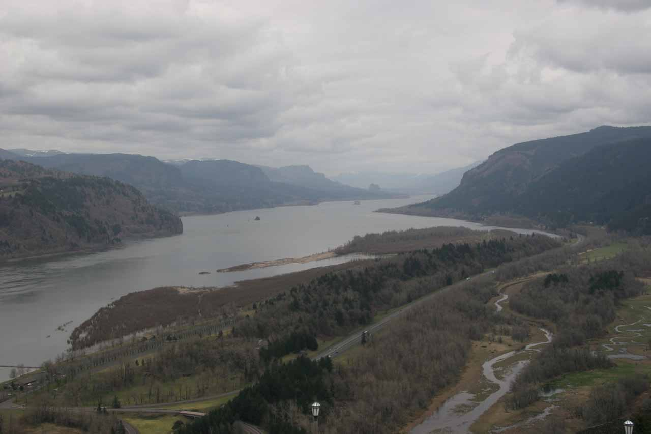 Tygh Valley was actually east of the Columbia River Gorge (shown here) as it was in the rainshadow of Mt Hood so the climate there was noticeably drier than the gorge itself