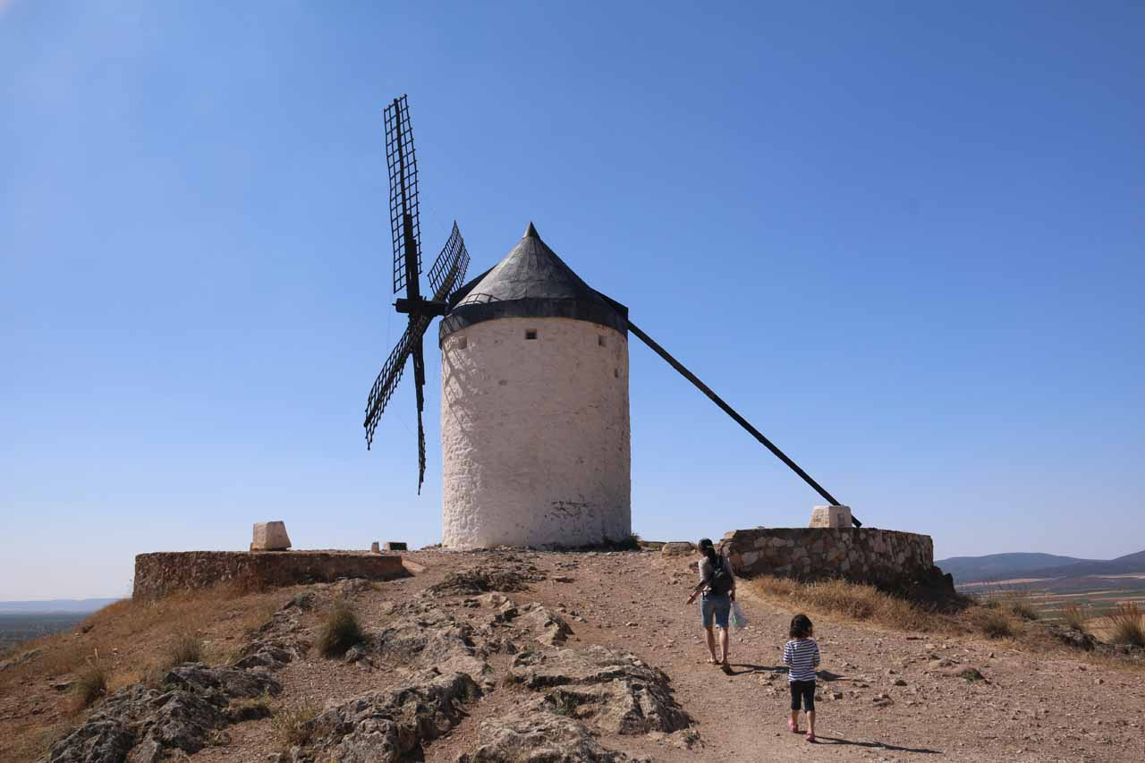Julie and Tahia approaching one of the windmills