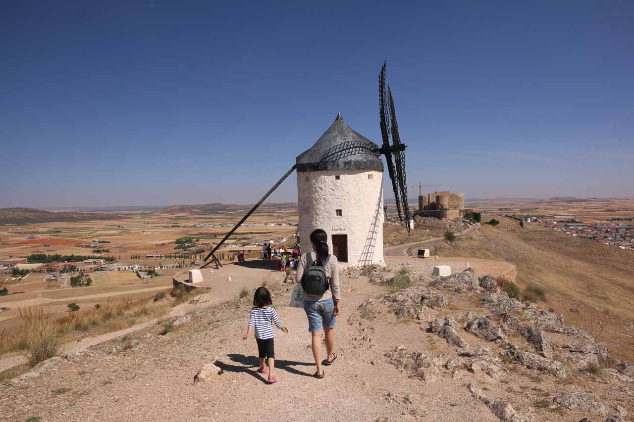 Julie and Tahia making their way back towards other windmills