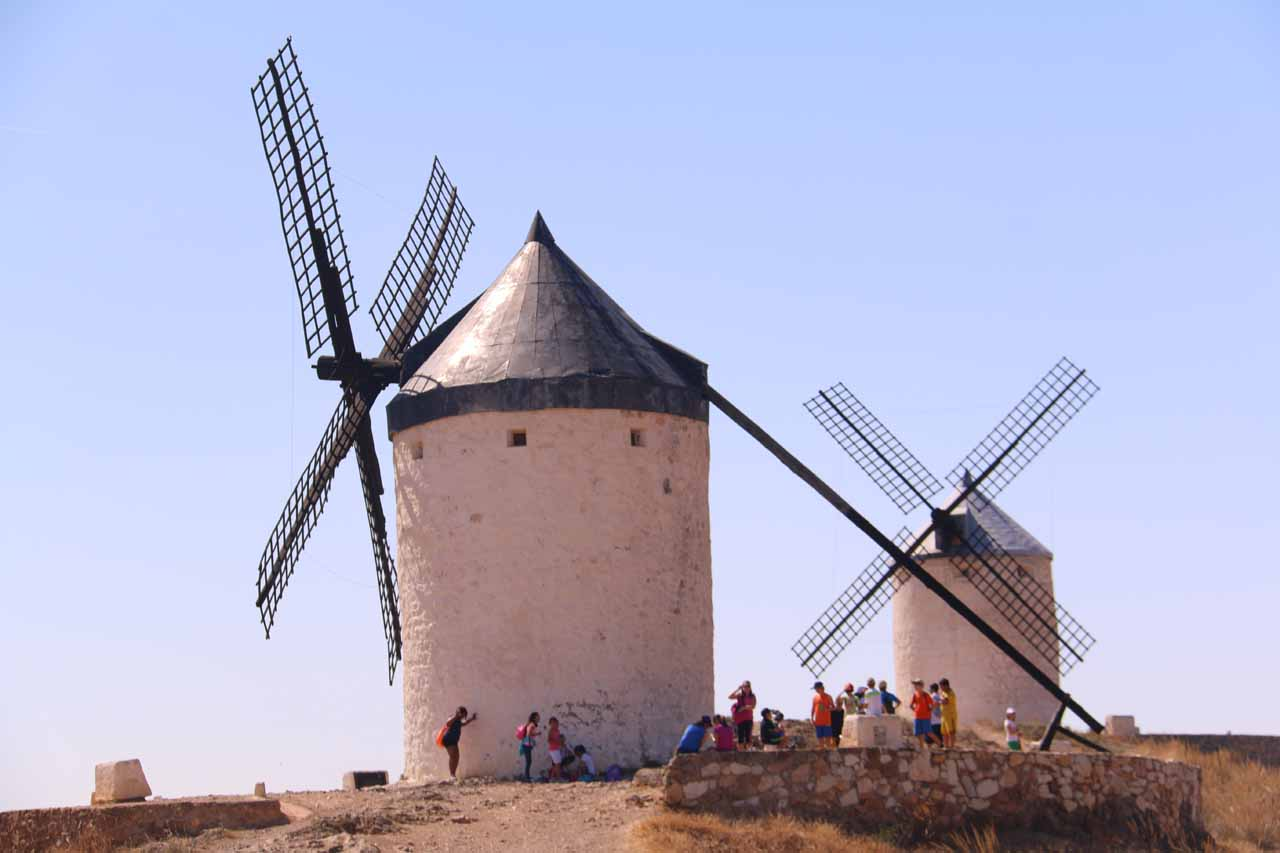 Checking out a pair of other windmills above Consuegra