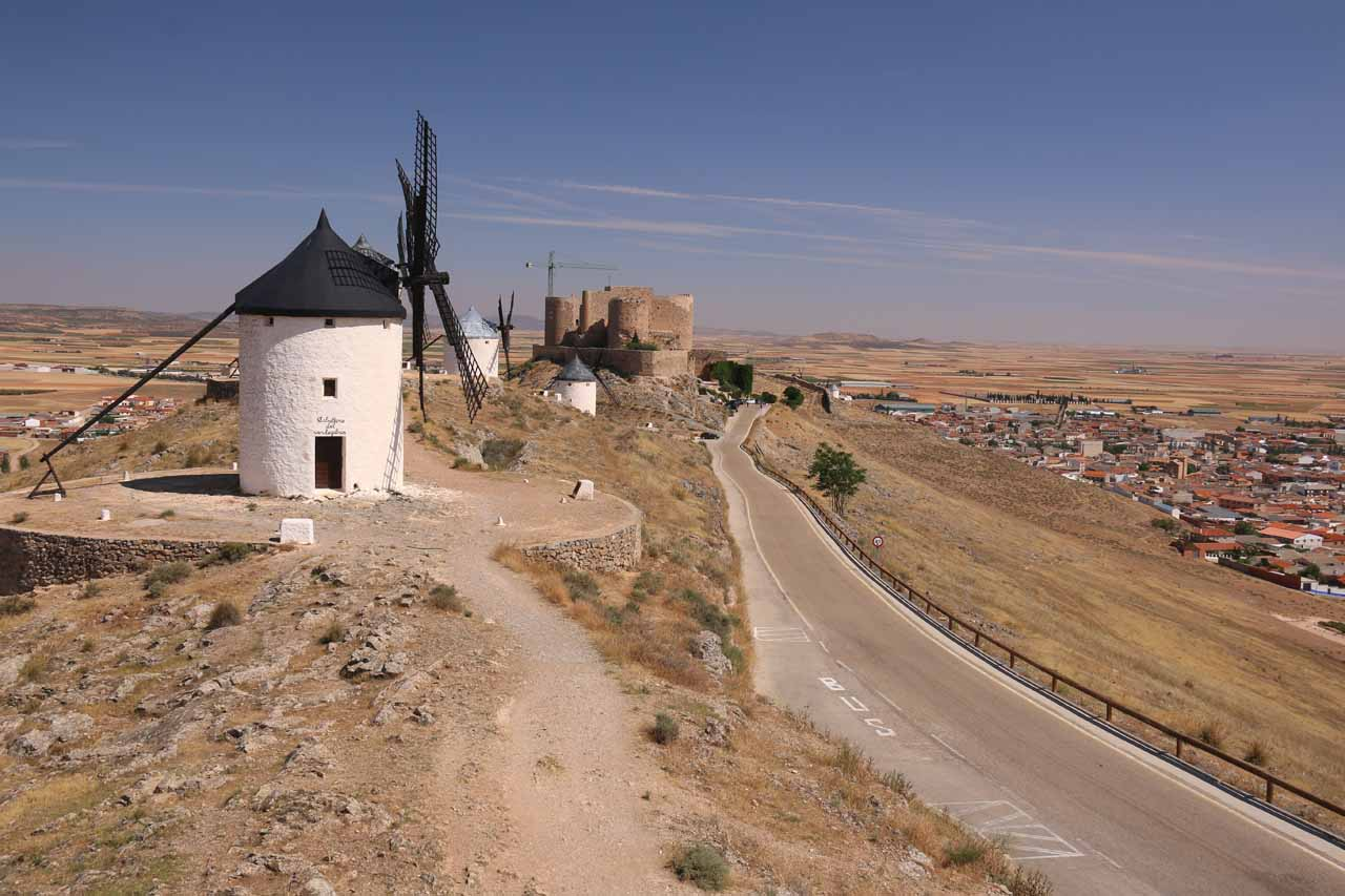 Another contextual look at the windmills, the castle, and the road overlooking Consuegra