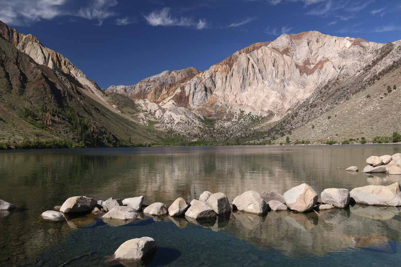 Rocks strewn along the shallower parts of Convict Lake