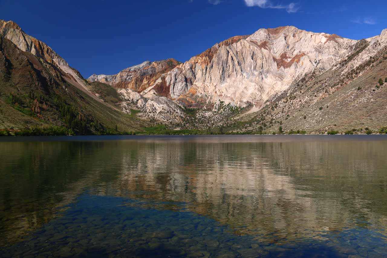 Back at a very calm part of Convict Lake with nice reflections