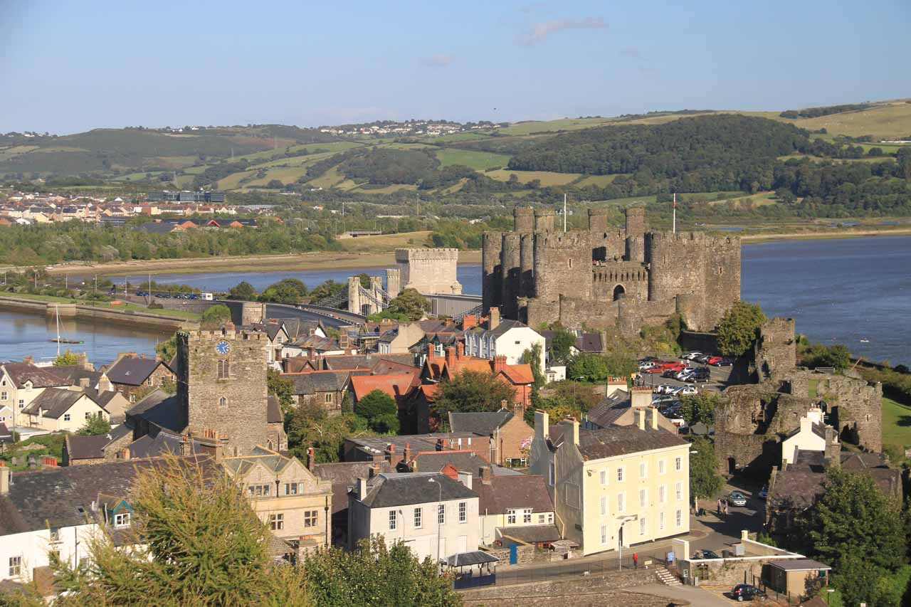 In addition to Conwy Castle, Conwy also featured well-preserved city walls yielding this view over the town towards the impressive castle itself