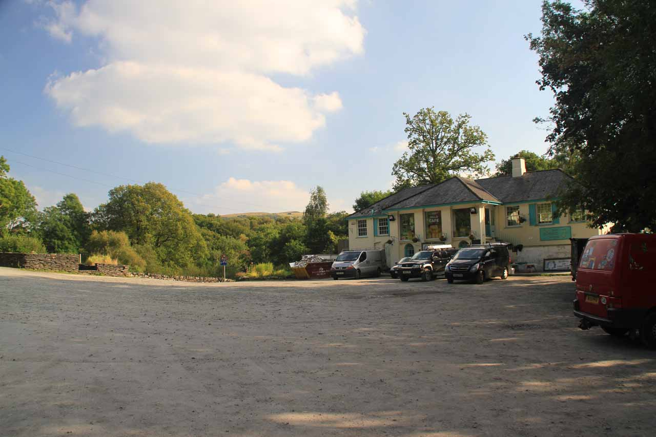 The wide open car park for the Conwy Falls Cafe