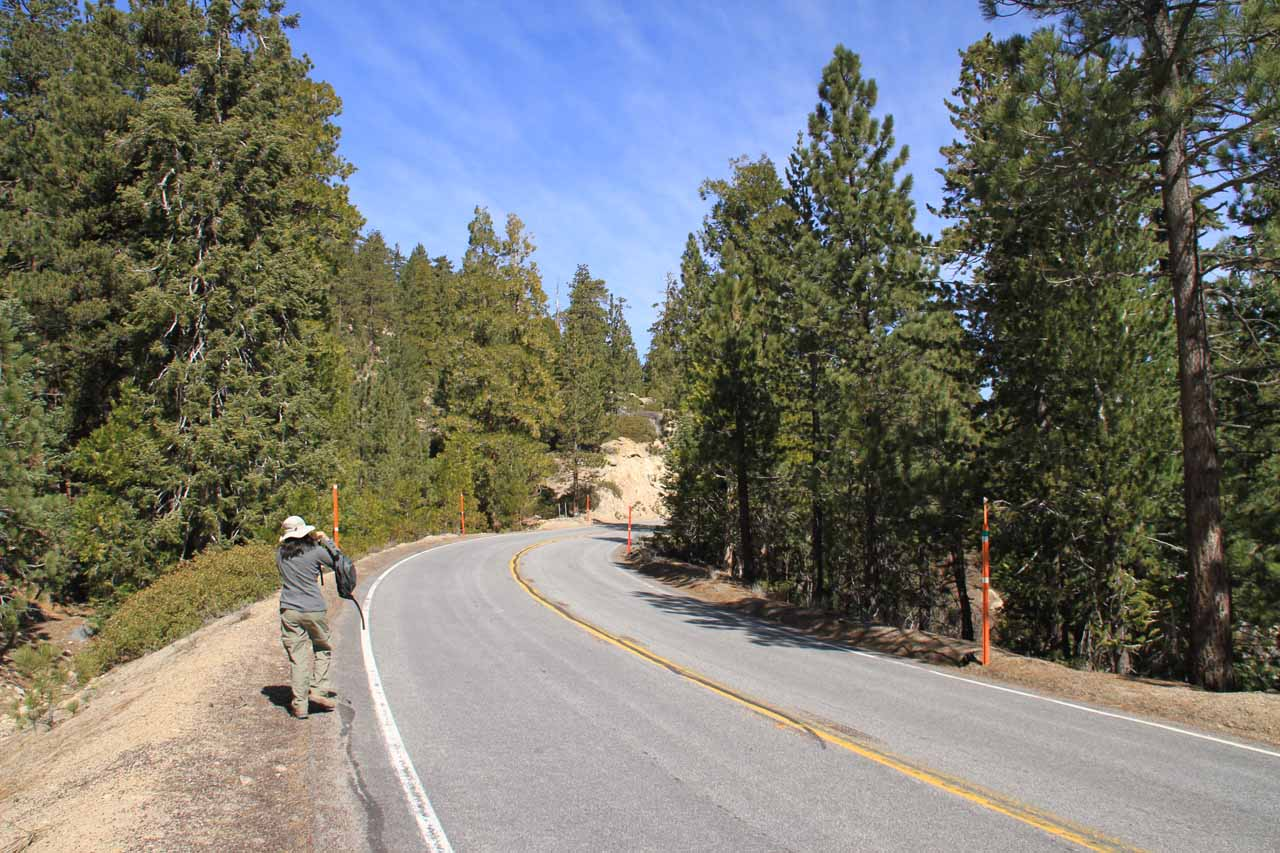 Walking along the Angeles Crest Hwy towards the Buckhorn Campground turnoff